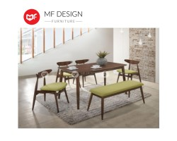 MF DESIGN  Borato Dining Set Furniture (1 Table + 2 Chair + 1 Bench) - Scandinavian Style [Full Solid Wood]